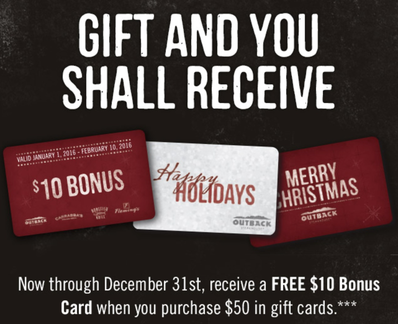 Not valid with any other discounts or offers including any Dine Rewards redemption. Not valid for Private Dining events. Not redeemable at Carrabba's franchise locations, Carrabba's Kirby and Carrabba's Woodway locations in Houston, TX, Carrabba's and Outback airport locations.