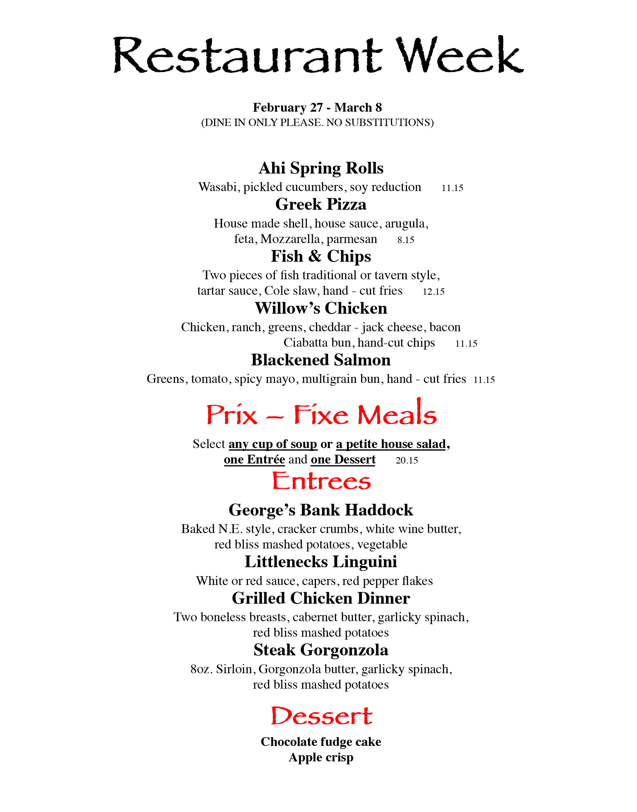 Twin willows event restaurant week for Table 52 restaurant week 2015