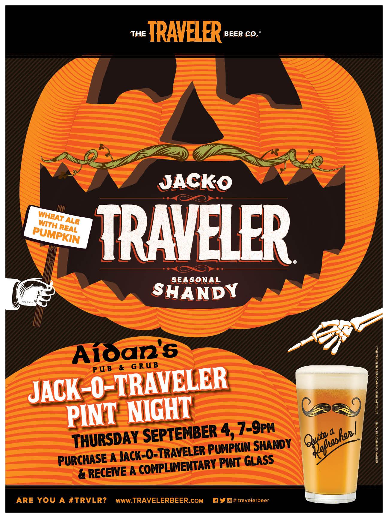 GoingOut.com: Aidan's Pub Event, Jack-O-Traveler Pint Night